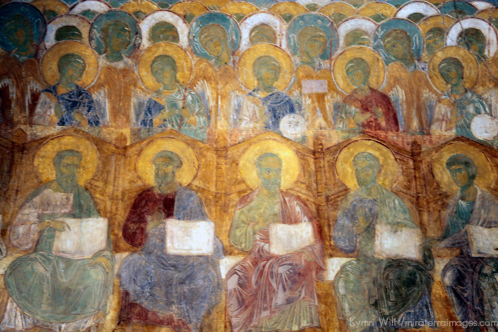 Europe, Russia. Vladimir. Cathedral of St. Dimitry frescoes.