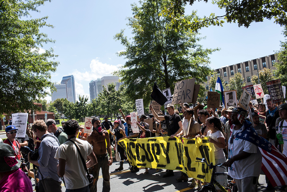The March on Wall Street South protest on Sunday, September 2, 2012 in Charlotte, NC.