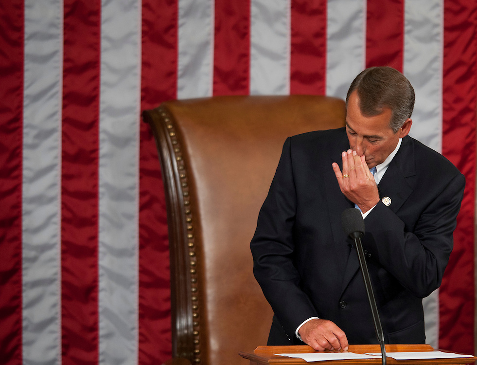 Jan 5, 2011 - Washington, District of Columbia, U.S. -Rep. JOHN BOEHNER (R-OH) becomes emotional shortly after being sworn in as Speaker of the House of Representatives.(Credit Image: © Pete Marovich/ZUMA Press)