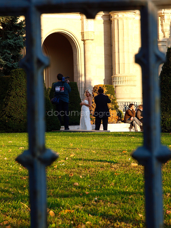 A bride being photographed, Budapest, Hungary.