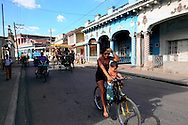 Bicycling in Guines, Mayabeque, Cuba.