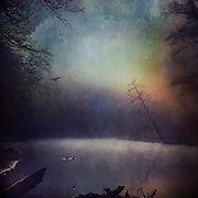 Rising morning fog and first light over river Wupper / Germany - texturized and digitally manipulated photo