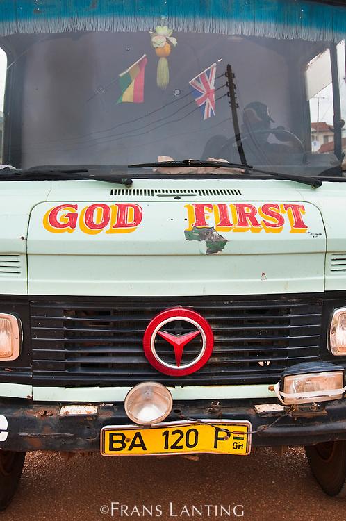 Motto on bus, Ghana