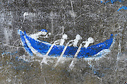 Graffiti on wall represents Faroese Rowing (KapprÛur), TÛrshavn