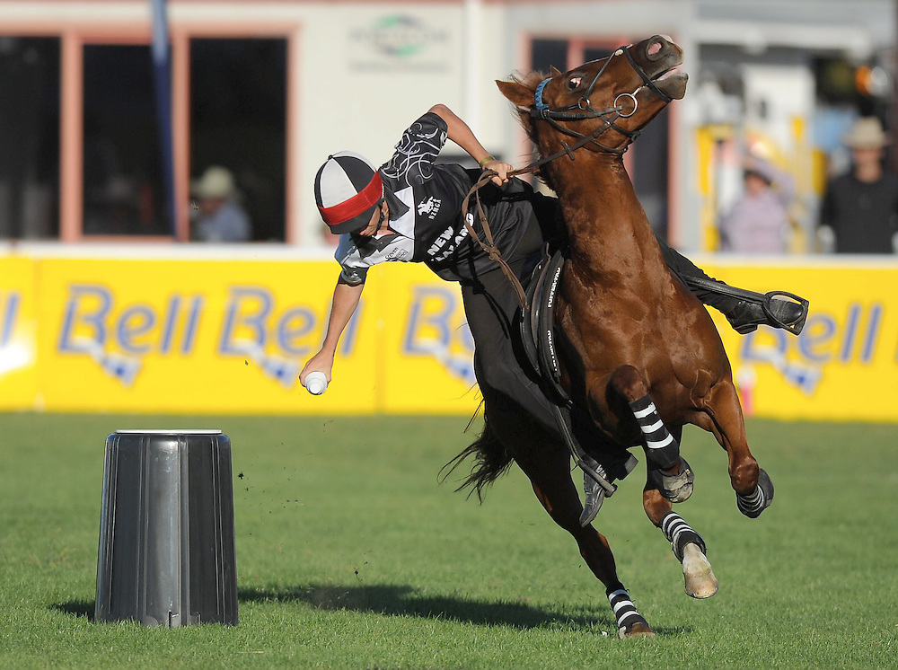 New Zealand's Steve Hooker, Heat 2, Mounted Games World Team Championships, Horse of the Year, Hastings, New Zealand. Wednesday, March 13, 2013. Credit: SNPA / Kerry Marshall
