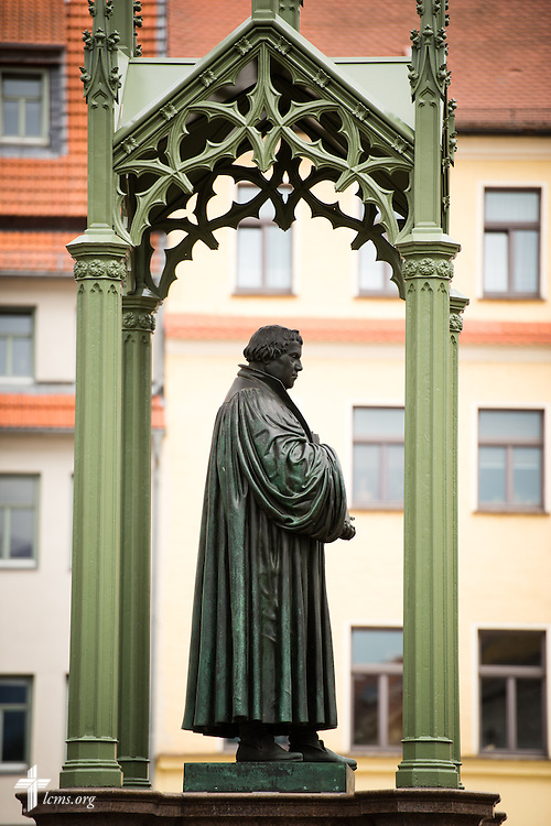 The Martin Luther statue in Wittenberg, Germany, on Tuesday, May 5, 2015 LCMS Communications/Erik M. Lunsford