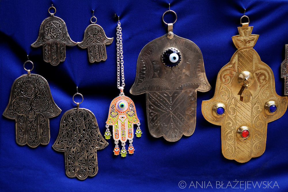 Morocco, Marrakesh. Hand of Fatima- a palm-shaped amulet popular throughout the Middle East and North Africa. (also called: hamsa, khamsa, chamsa)