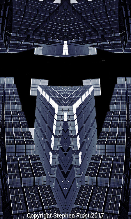 An abstract digital representation, using fractals, perhaps suggesting an alien spaceport or other technical structure, against a black sky.