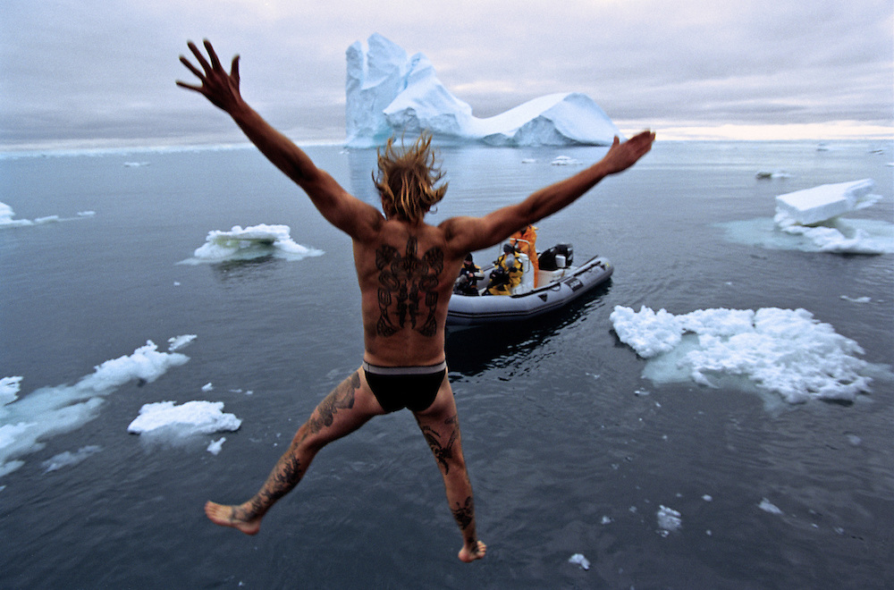 Geert Van Os jumps in the frigid Southern Ocean waters in celebration of New Year. Antarctica