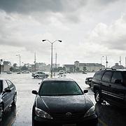 Heavy rain on carpark in Houston Texas