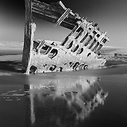 Peter Iredale Shipwreck And Reflection - Sunset - Oregon Coast - HDR - Infrared Black & White