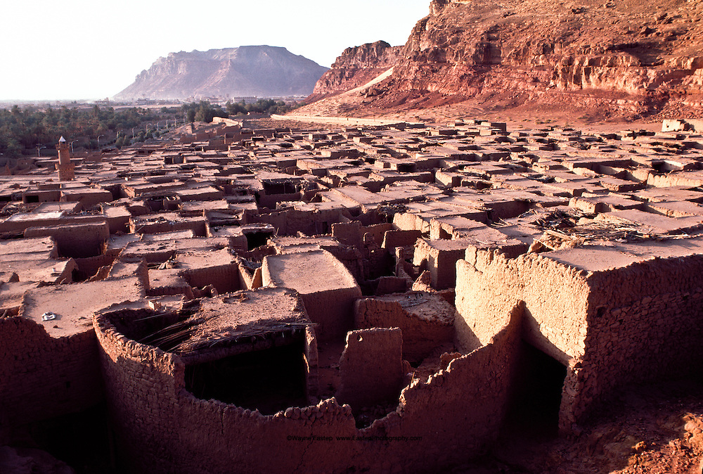 Traditional adobe houses in the town of Al-Ula in northern Saudi Arabia