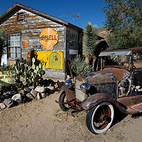 Buildings and displays near Hackberry General Store in Hackberry Arizona on Route 66. .A trip through parts of Route 66 from Southern California to Arizona.