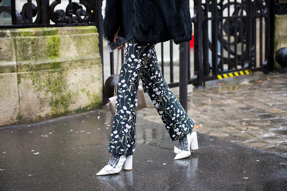 Printed Pants and White Shoes, Outside Giambattista Valli FW2017