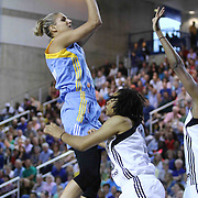Chicago Sky Forward Elena Delle Donne (11) attempts a jump shot in the paint in the second period of a WNBA preseason basketball game between the Chicago Sky and the New York Liberty Friday, May. 22, 2015 at The Bob Carpenter Sports Convocation Center in Newark, DEL