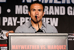 May 19, 2009; New York, NY, USA; Juan Manuel Marquez speaks at the press conference announcing his upcoming fight against Floyd Mayweather Jr.  The two will meet on July 18, 2009 at the MGM Grand Garden Arena in Las Vegas, NV.