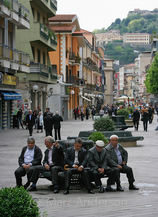 Old men sitting on a bench, Cosenza, Italy