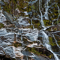 Water cascades over gneiss rock formations and mossy growth in the Clinton Canyon, Milford Track, Fiordland, New Zealand