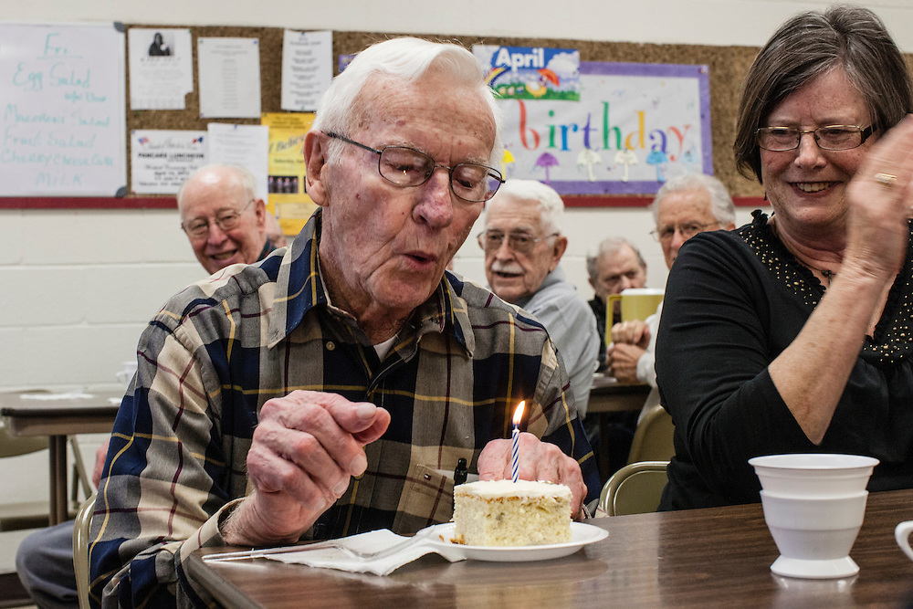 Don Doolittle celebrates his birthday at the Webster City birthday club on Friday, March 30, 2012 in Webster City, IA.
