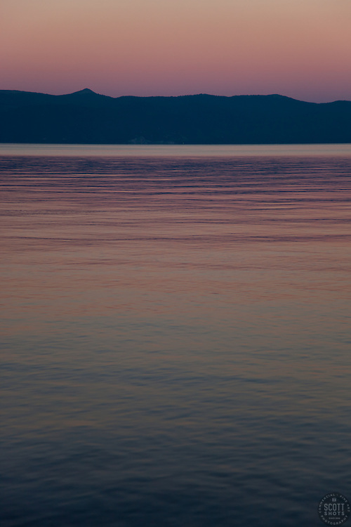 """Sunset at Lake Tahoe 5"" - This peaceful sunset was photographed from the West shore of Lake Tahoe, California."