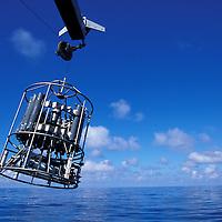 USA, Washington, Deep ocean sampling device is launched from U of Washington research ship R/V Thomas G. Thompson