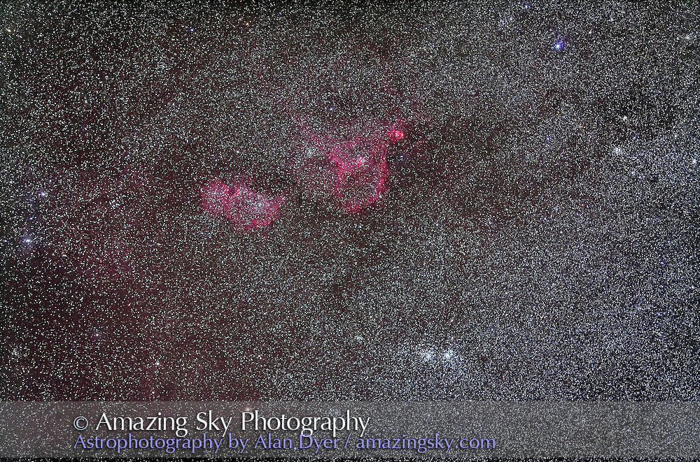Nebulosity in Cassiopeia with 135mm telephoto lens at f/2.8 and Canon 5DMkII at ISO 800 for stack of 4 x 4 minutes. IC 1848 is at left; IC 1805 and NGC 896 is at right. Double Cluster is below.