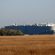 Large ocean going cargo ship at the Brunswick Georgia Port seeming to be parked in a large field.