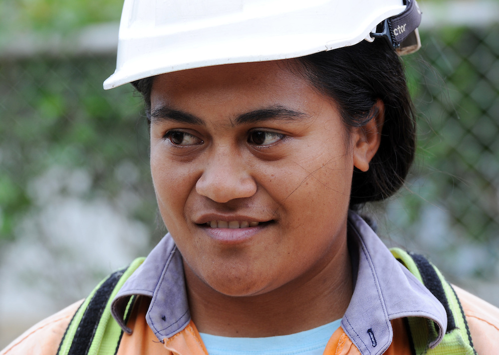 A female member of the work crew on the New Zealand funded Tonga Village Power Network Upgrade Project, Ha'alalo village, Pacific Mission 2012, Nuku'alofa, Tonga, Tuesday, July 24, 2012. Credit:SNPA / Ross Setford