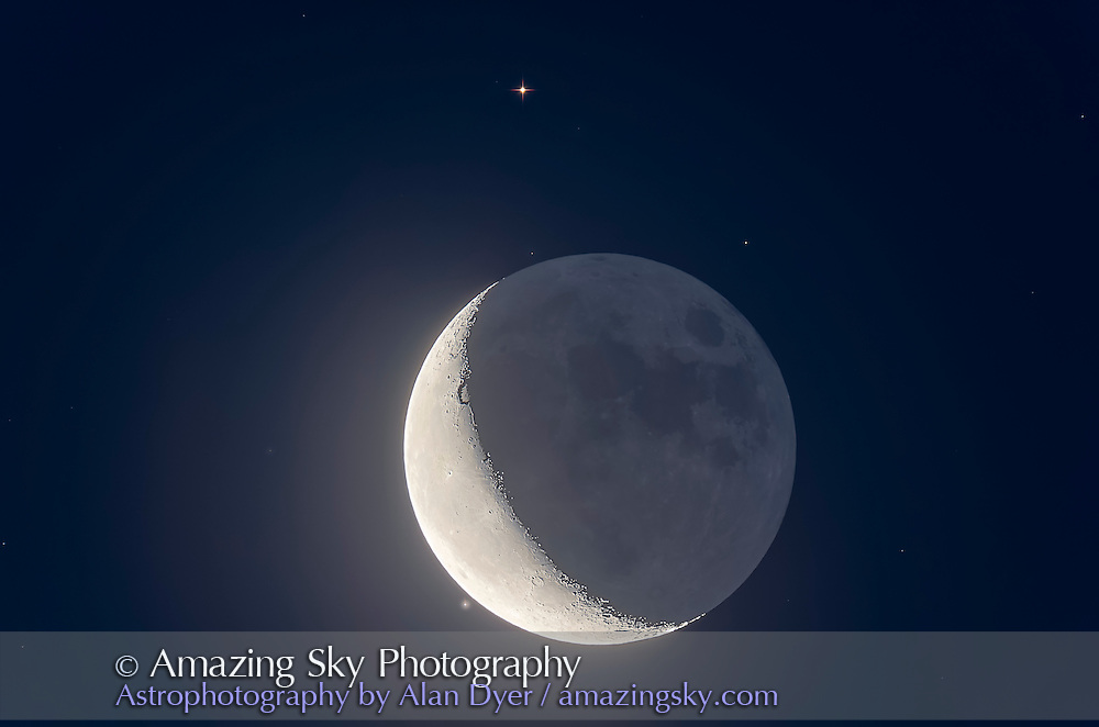 The waning crescent Moon near Aldebaran in a very close conjunction on the morning of July 29, 2016. We were perfectly positioned in Alberta to catch the Moon at its closest to the star and at the ideal time before the sky got too bright but with the Moon as high as possible in the sky.<br /> <br /> This is a stack of 7 exposures, from 2 seconds for the Earthshine, twilight sky colour and stars, to 1/125th second for the bright crescent. All were stacked, aligned and blended with luminosity masks, as HDR stacking left odd fringing artifacts on the slowly moving Moon, despite applying deghosting. <br /> <br /> All with the 130mm Astro-Physics refractor at f/6 and Canon 60Da camera at ISO 400.