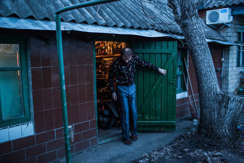 LUHANSK, UKRAINE - MARCH 15, 2015: Aleksandr Kryukov at the house were he lives with his grandmother in Luhansk, Ukraine. CREDIT: Brendan Hoffman for The New York Times
