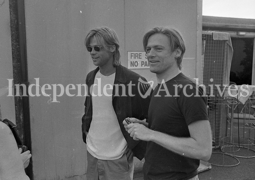 Bryan Adams and Brad Pitt sign autographs after the Concert at The Point Depot, Dublin, 22/07/1996 (Part of the Indeopendent Newspapers Ireland/NLI Collection).