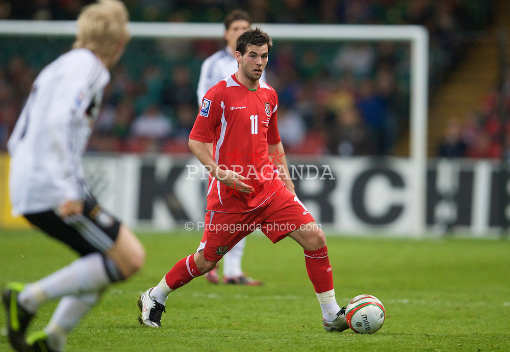 CARDIFF, WALES - Wednesday, April 1, 2009: Wales' Joe Ledley in action against Germany during the 2010 FIFA World Cup Qualifying Group 4 match at the Millennium Stadium. (Pic by David Rawcliffe/Propaganda)