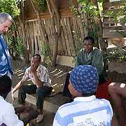 28 November 2008, Ivory Park, South Africa. Ivan Lewis, UK Minister for International Development, visits a clinic dispensing ARV drugs, home-based patients, and HIV/AIDS orphanage and a hospice dealing with AIDS patients