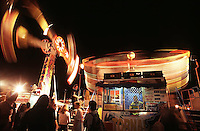 At night at the Cairns Show Sideshow Alley comes to life with rides galore. Far north Queensland, Australia.