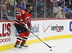 November 8, 2007; Newark, NJ, USA;   New Jersey Devils defenseman Johnny Oduya (29) waits behind the Devils goal during the third period of their game against the Philadelphia Flyers at the Prudential Center in Newark, NJ.  The Devils won the game by a 4-1 score.
