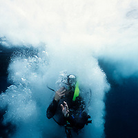 CHANNEL ISLANDS NATIONAL PARK, CA:  A SCUBA diver jumps into the waters of the Channel Islands National Park, California. (Model Released)