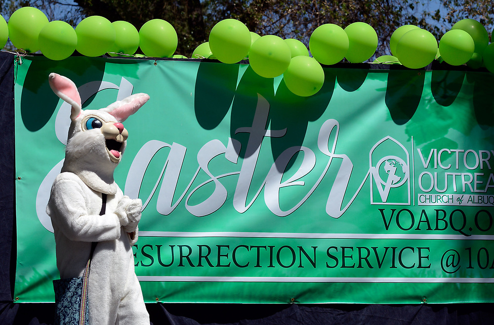 jt041517g/a sec/jim thompson/ Whats an easter egg hunt with out a giant rabbit at the Victory Outreach Albuquerque Church's HOPE Easter Egg Hunt and care Basket Giveaway at Roosevelt Park.  Saturday April 15, 2017. (Jim Thompson/Albuquerque Journal)