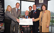 Princes Charity in Scotland cheque presentation at Perth Racecourse, 8.11.11. L-R:.Heather Gray, PSYBT, Mark Strudwick, Princes Trust Chair, Scotland, David Whitaker, Chairman Perth Racecourse, Sam Morsehead, GM Perth Racecourse, First Minister Alex Salmond,  Lady Sara Cornwallis, Chair Charities Fund Committee...Queies to Angharad High, Marketing Manager, View Marketing, 07889 062645