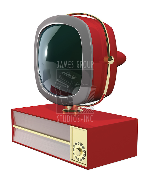 A Retro 50's/60's era television fashioned in the style of the Philco Predicta series at a 3/4º angle