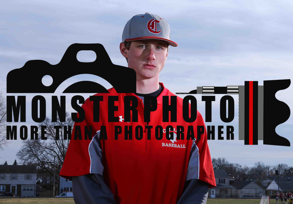 "Baseball player Chris Kramedas pose for a photograph wearing a uniform that shows the soon to be dropped mascot ""The Redskins"" on the left side of the chest Thursday, Mar. 19, 2015 at The Conrad Schools of Science in Wilmington, DE."