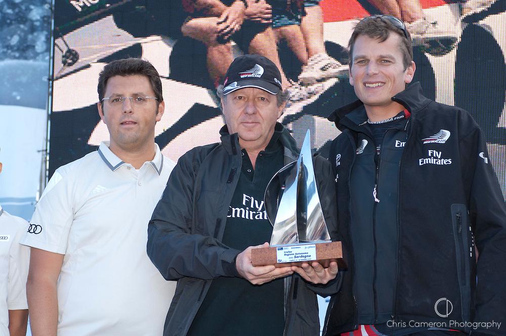 Emirates Team New Zealand, Matteo de Nora nad Dean Barker on stage as season champions of the Audi MedCup 2010. Cagliari Sardinia. 25/9/2010