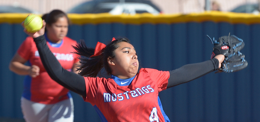 gbs040417e/SPORTS -- West Mesa's Destiny Garcia pitches to Atrisco Heritage in the second inning of the game at West Mesa on Tuesday, April 4, 2017. (Greg Sorber/Albuquerque Journal)