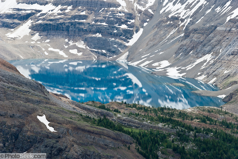 See Lake McArthur from Odaray Grandview Prospect (2535 meters elevation) in Yoho National Park, British Columbia, Canada. This is part of the Canadian Rocky Mountain Parks World Heritage Site declared by UNESCO in 1984.