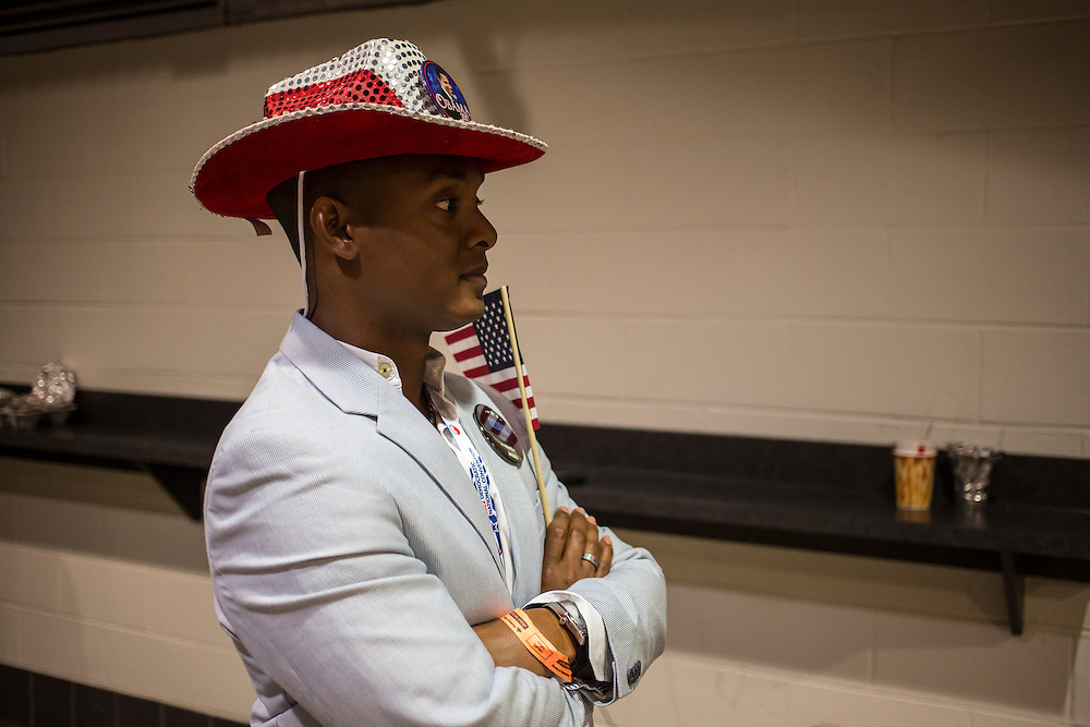 Cedric McMinn, a delegate from Miami, Florida, attends the Democratic National Convention on Tuesday, September 4, 2012 in Charlotte, NC.