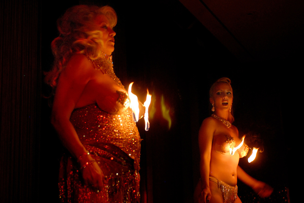 Burlesque legend Satan's Angel (left) with Pyra Sutra performing at  51st Annual Stars of Burlesque Striptease Reunion Showcase during the 18th Burlesque Hall of Fame Event in Las Vegas, Nevada.