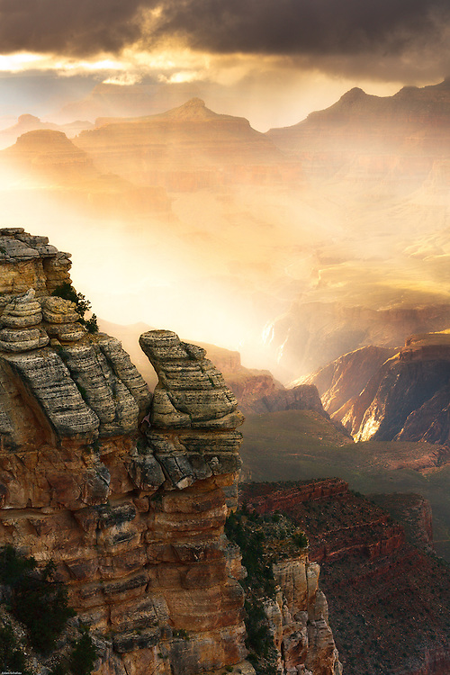 A mist of rain illuminated by the setting sun in the Grand Canyon.