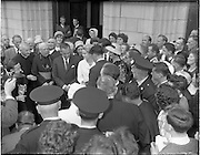 15/06/1961<br /> 06/15/1961<br /> 15 June 1961<br /> Royal Visit to Ireland by Princess Grace and Prince Rainier of Monaco. The royal couple at Westport, Co. Mayo. Princess Grace being presented with a Connemara marble chest by her relatives.