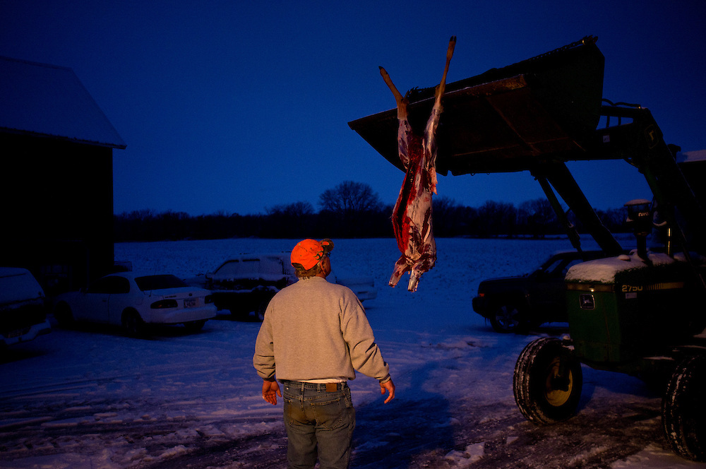 Mike Johnson looks at the carcass of a young buck killed on the opening weekend of deer hunting season after skinning it on Sunday, December 4, 2011 in Webster City, IA.