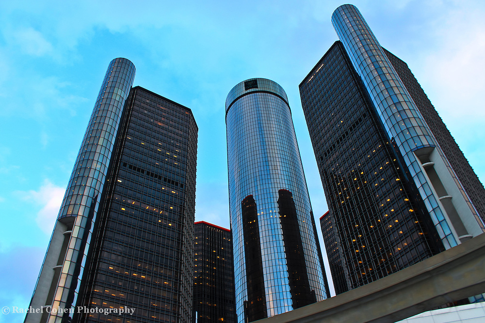 &quot;The Renaissance Center&quot; <br /> <br /> The beautiful architecture and design of a group of buildings on the Detroit River Front, known as The Renaissance Center, The RenCen, or The GM Renaissance Center. <br /> <br /> This group of buildings is the world headquarters for General Motors!<br /> <br /> Cities and Skyscrapers by Rachel Cohen
