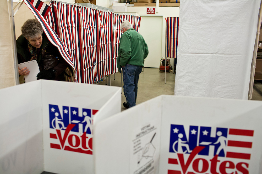 People vote in the New Hampshire Primary in the Canaan Fire Station on Tuesday, January 10, 2012 in Canaan, NH. Brendan Hoffman for the New York Times